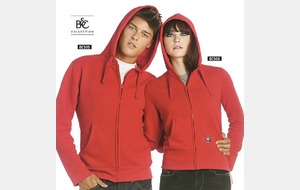 Sweat capuche rouge grand zip BNC